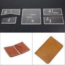 1 ensemble de portefeuille en cuir bricolage   Sac pour passeport modèle acrylique, accessoires de motifs de couture en cuir artisanal 10*15*2cm