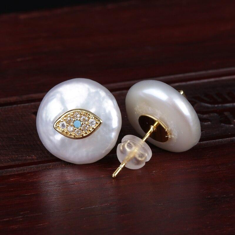 Cz micro pave minúsculo olho azul evil eye proteja encantos natural coin pérola de água doce bead charme botão de ouro brinco do parafuso prisioneiro para mulheres