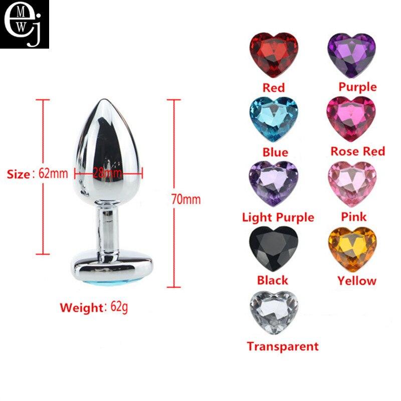 Анальные секс-игрушки EJMW, 3 размера, вы можете выбрать Анальная пробка с сердечком из нержавеющей стали, Анальная пробка, игрушки для мужчин и женщин, для геев, ELDJ257