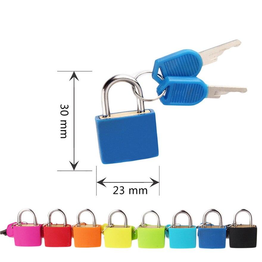 Nuevo candado pequeño de acero de 6 colores, candado pequeño de viaje para maleta con 2 llaves