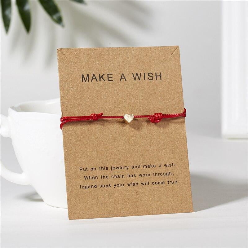 Ailodo Make a Wish Gold Heart Bracelet Handmade Jewelry Multicolor Rope Adjustable String Lucky Bracelet For Women Men LD208