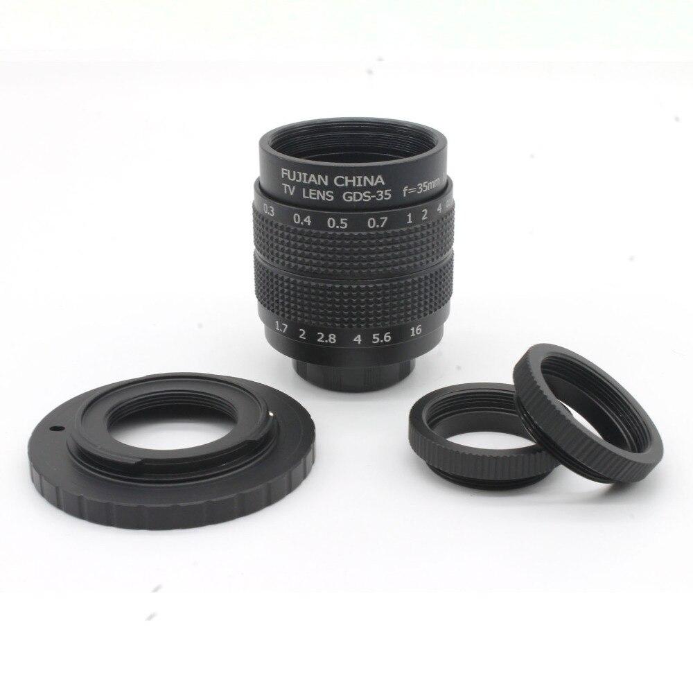 Negro 35mm F1.7 CCTV TV película lente + montaje para EOS M + marco envío gratis