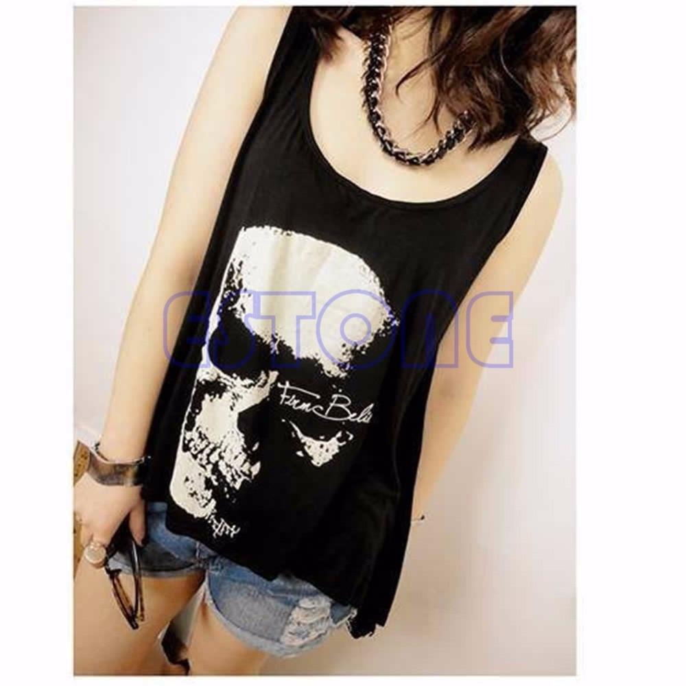 1 ud. Camiseta sin espalda con calavera gótica camiseta sin mangas camiseta de verano Punk Rock borla