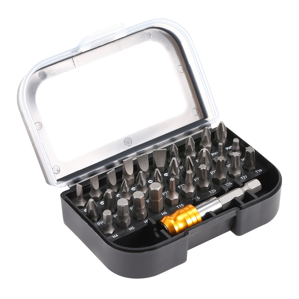 Jewii 31 Uds extensión de puntas de destornillador conjunto de varillas magnéticas multiusos cabeza de poder cromo vanadio acero juegos de herramientas de mano