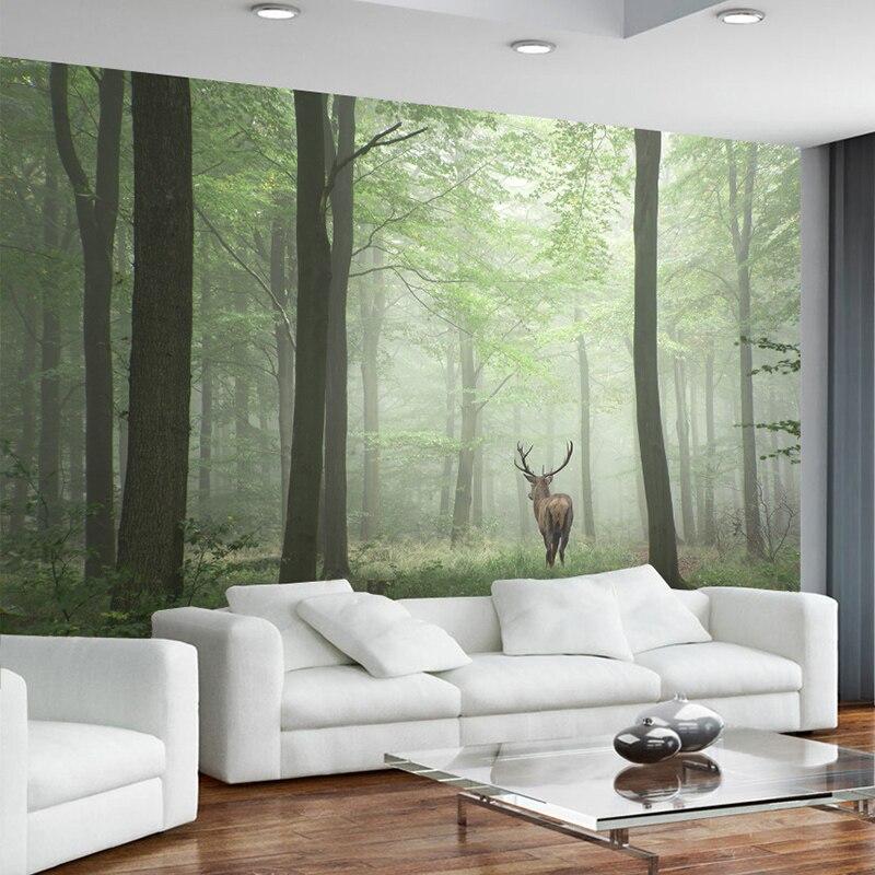 Настенные 3D-обои, современный фон с изображением леса, дерева, тумана, лося, настенная живопись для гостиной, телевизора, дивана, кабинета, домашний декор, винтажные обои