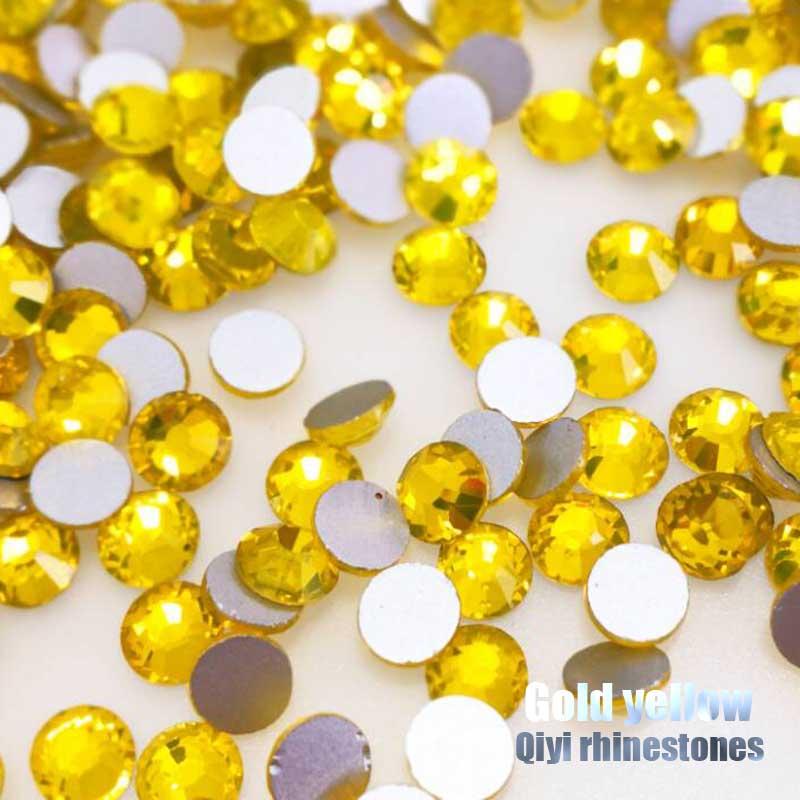 Amarillo limón 3D Super flash de alta calidad de vidrio de Arte de uñas no hotfix flatback diamantes de accesorios de bricolaje/teléfono móvil/ropa FM016