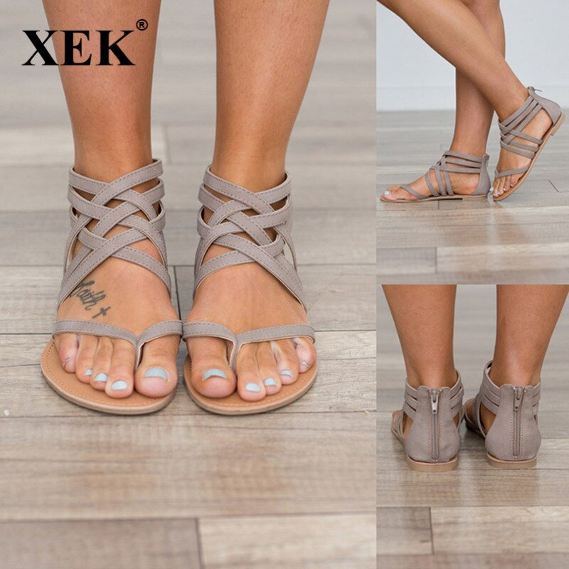 Plus Size 34-43 Flats Summer Women's Sandals 2018 New Fashion Casual Shoes For Woman European Rome S