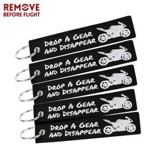 10 PCS/LOT Cool noir moto porte-clés llaveros pour voitures broderie porte-clés Drop A Gear porte-clés OEM voiture chaîne porte-clés