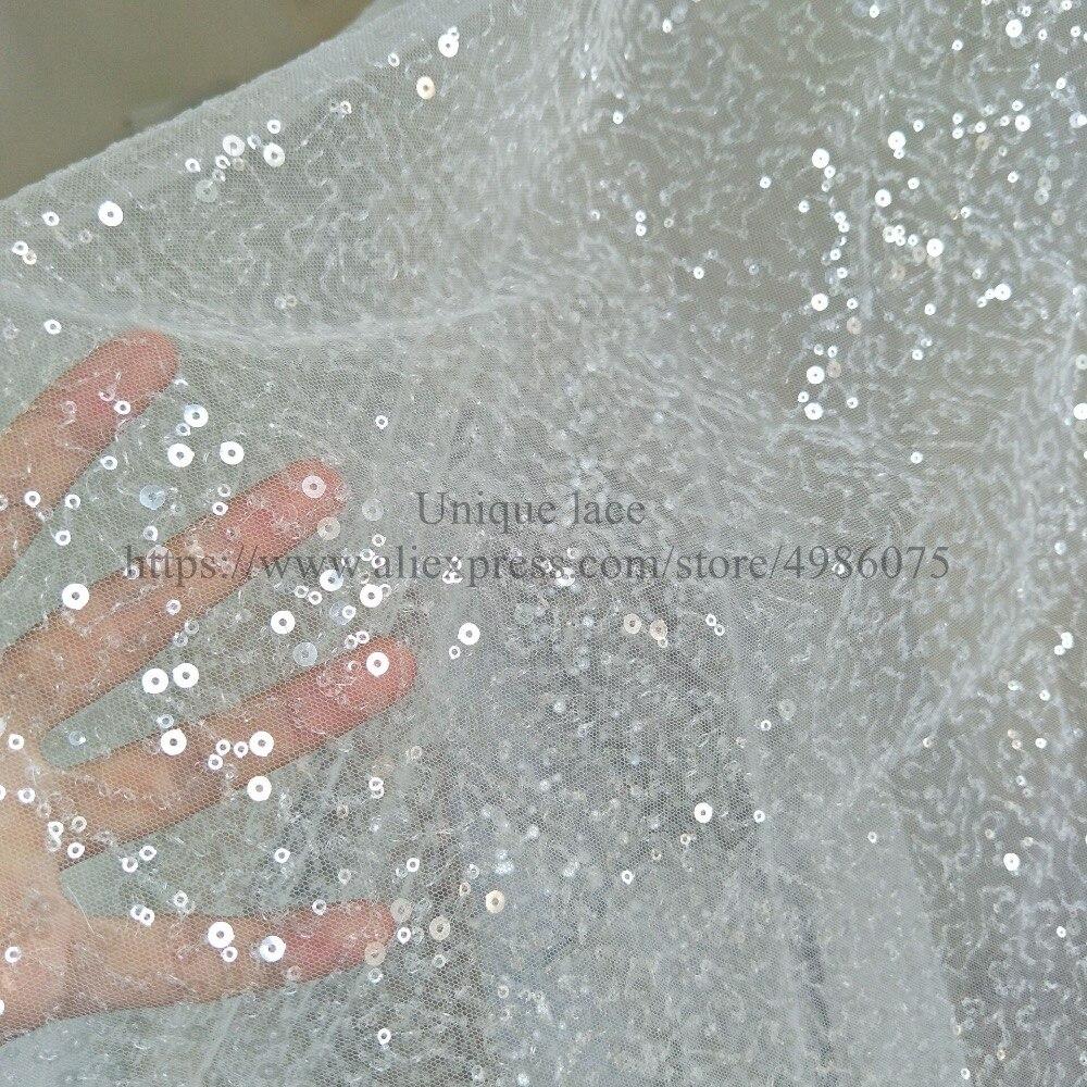 Moda 2019, encaje de color marfil, lentejuelas, 130cm, brillante, tela de encaje de boda, accesorios, vestido, tela de encaje, Envío Mundial