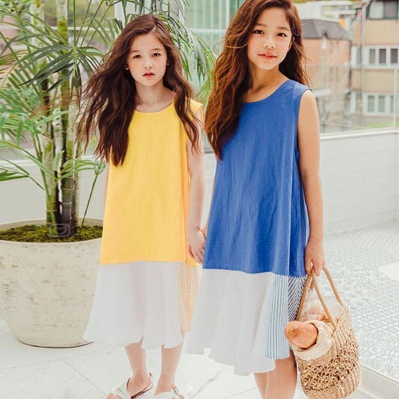 Summer 2019 Blue Yellow Patchwork Sundress Girls Sleeveless Beach Party Dresses Kids Clothes Children Straight Dress Clothing