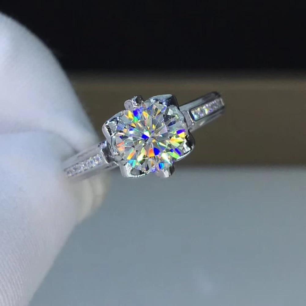 Anillos de Compromiso de moissanita de 1ct de quilates para boda de mujeres anillos de platino Chapado en plata de ley 925 claridad de Color D