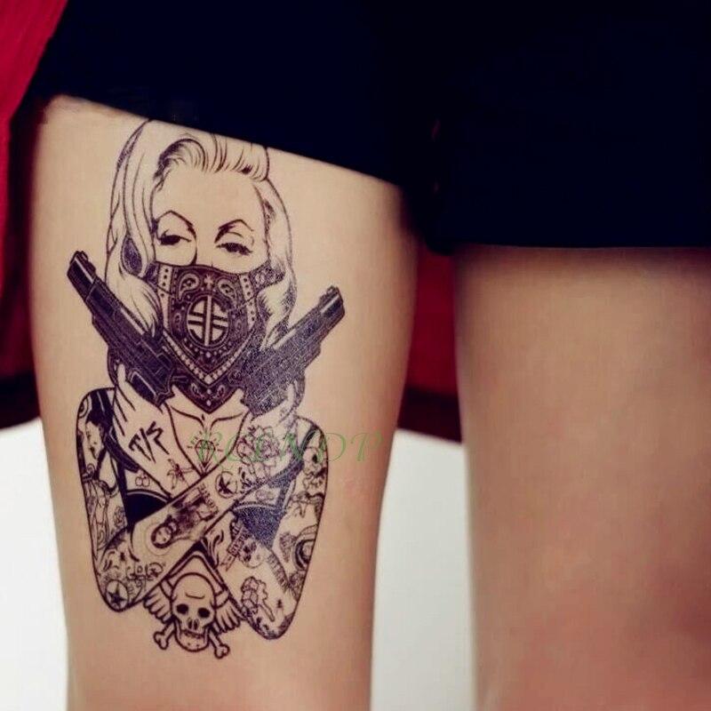 Tatuaje temporal a prueba de agua, pegatina de cráneo cabeza pistola de mujeres tatuaje falso Flash tatuaje mano brazo trasero Tato para chica hombres