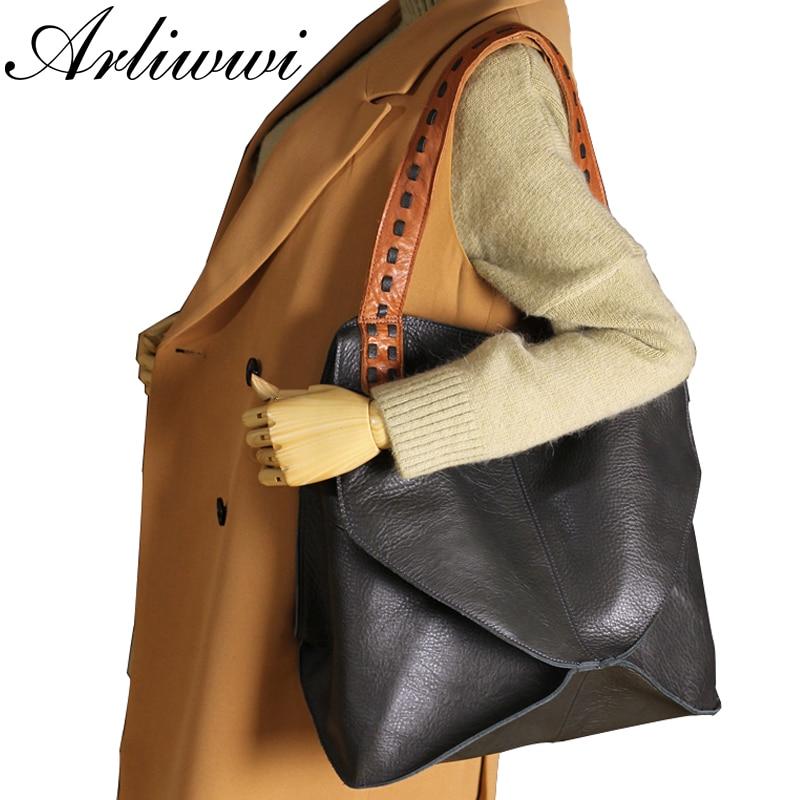 Arliwwi New Fashion Bags 100% Genuine Leather Handbags Large Capacity Hot Design Women Bags Multifunction Shoulder Bag GS02