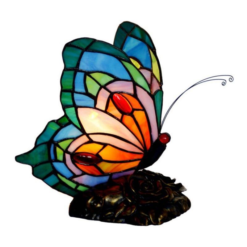 Tiffanylamp-مصباح طاولة بجانب السرير على شكل زهرة ، مصباح LED مزخرف حديث ، مصباح ليلي على شكل فراشة لغرفة الأطفال