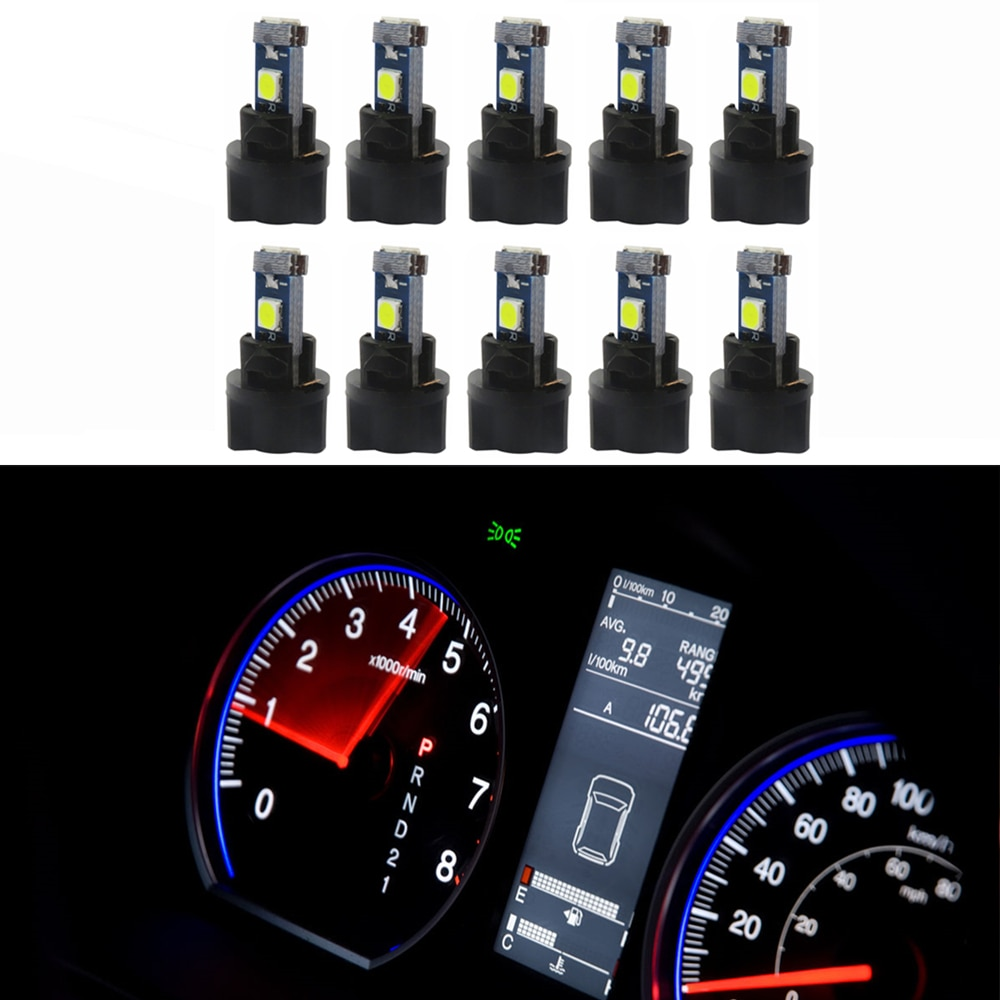 WLJH 10x T5 Wedge 37 73 bombillas LED PC74, indicador de toma giratoria, Panel de instrumentos, tablero, luz indicadora, Bombilla para Subaru