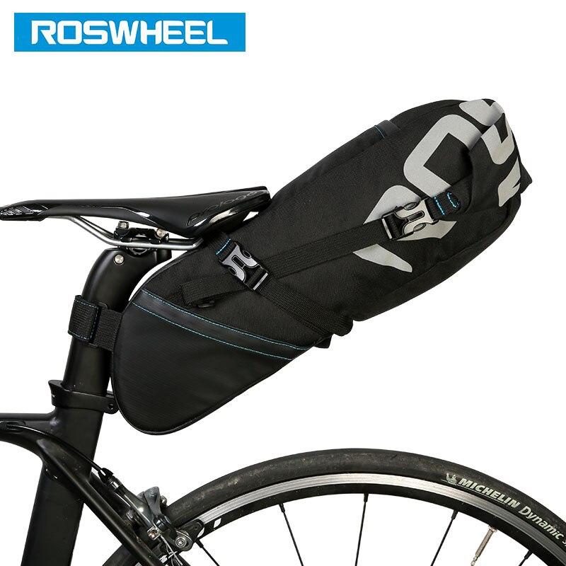 ROSWHEEL 131414, bolsa de sillín de bicicleta, asiento de bicicleta, alforja de almacenamiento, bicicleta de montaña, carretera, paquete trasero, impermeable, extensible, 8L 10L