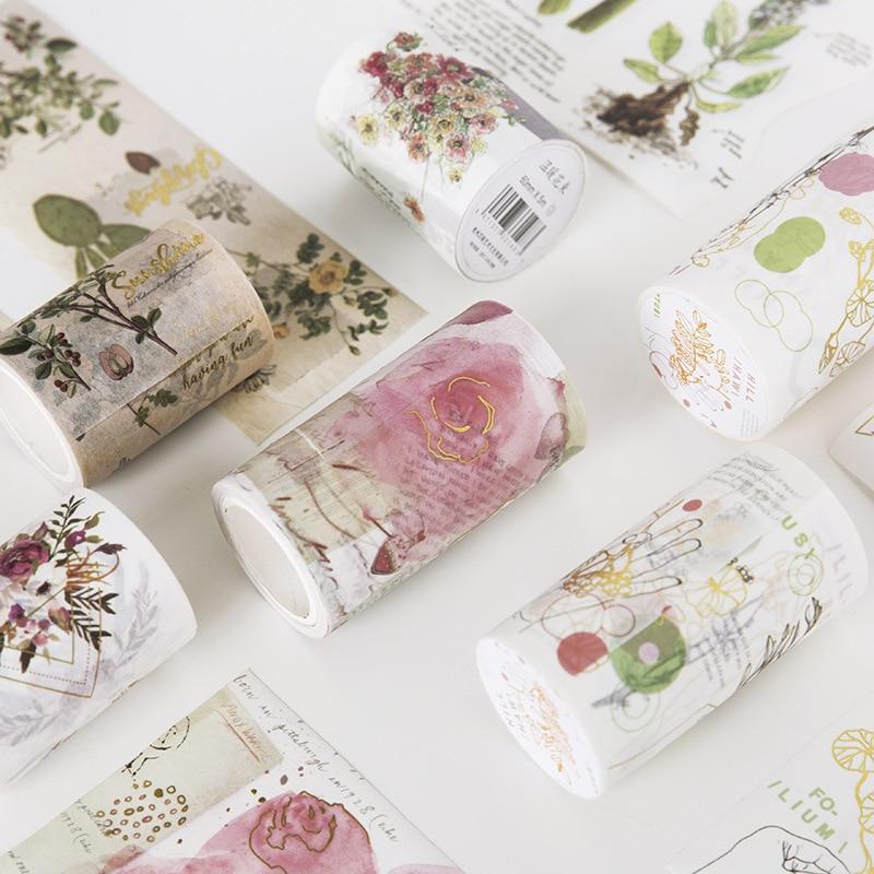5M creativas flores kawaii decorativo Washi Tape DIY Scrapbooking cinta adhesiva escuela Oficina suministro JD34