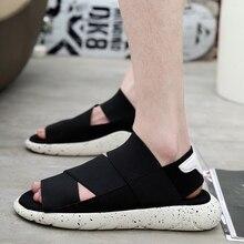 Sandales hommes chaussures 2019 gladiateur hommes sandales romaines hommes chaussures été noir plat sandales grande eau plage diapositives