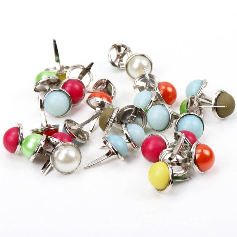 20 piezas variados de perlas redondas de Metal, tachuelas, tachuelas, sujetador con adornos para Scrapbooking, tachuelas artesanales, pasador de 12mm