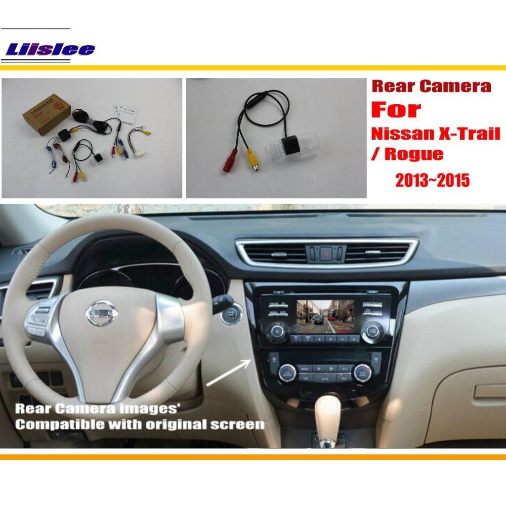 Cámara de Vista trasera de coche Liislee/cámara de marcha atrás para Nissan Qashqai/x-trail/Rogue 2013 ~ 2015/RCA y pantalla Original Compatible