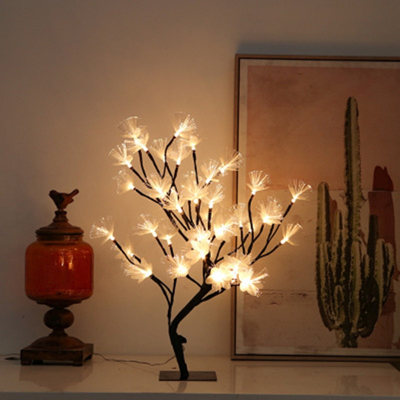 جديد LED الكرز ضوء الجدول مصباح الجنية شجرة مصباح على شكل وردة USB عيد الميلاد الألياف البصرية عطلة ديكورات منزلية لحفل الزفاف أضواء ليلية