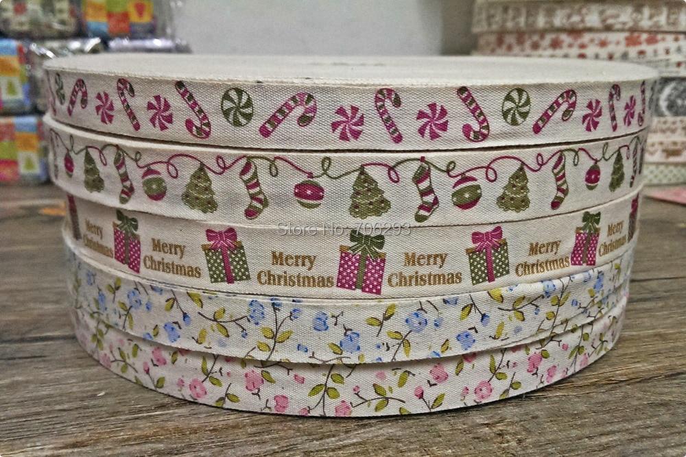 "New 5/8""(15mmx100m) 100% cotton ribbon Zakka Retro Handmade dots Cotton Ribbon Sewing label Merry Christmas gift snow lace"
