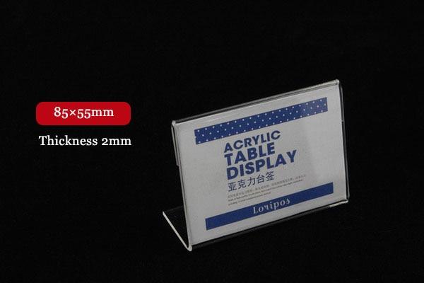85X55mm Tag ticket card holder frame display stand Acrylic Desktop Paper Name sign memo clip Display rack Label Sign Holder