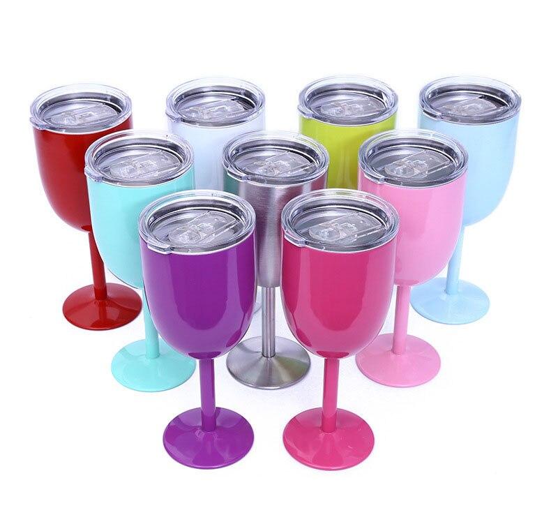 Venta al por mayor 50 unids/lote 10oz 304 copa de vino tinto de acero inoxidable, copa de vino de doble capa con tapa, Copas de café de vino tinto