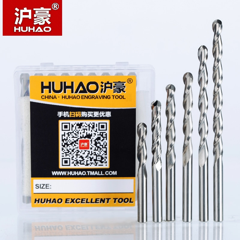HUHAO 5 шт./лот, 4 мм, 2 флейты, спиральная шаровая носовая фреза, фрезерные Фрезы с ЧПУ для древесины, вольфрамового твердосплавного фрезерного и...