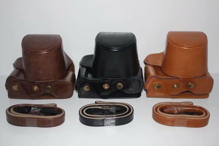 Funda de cámara para Fujifilm X-T100 XT100 15-45 lente Cámara bolso de poliuretano para cámara con apertura de batería + correa