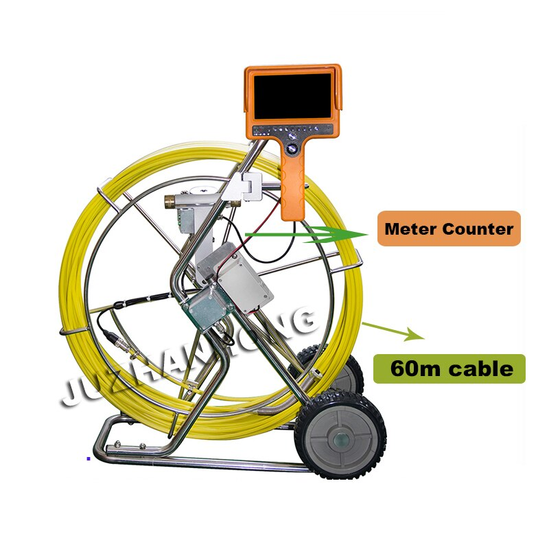Sistema de cámara de inspección de tuberías de mano 60m Cable 50mm cámara de nivelación automática medidor de cabeza contador dvr grabación