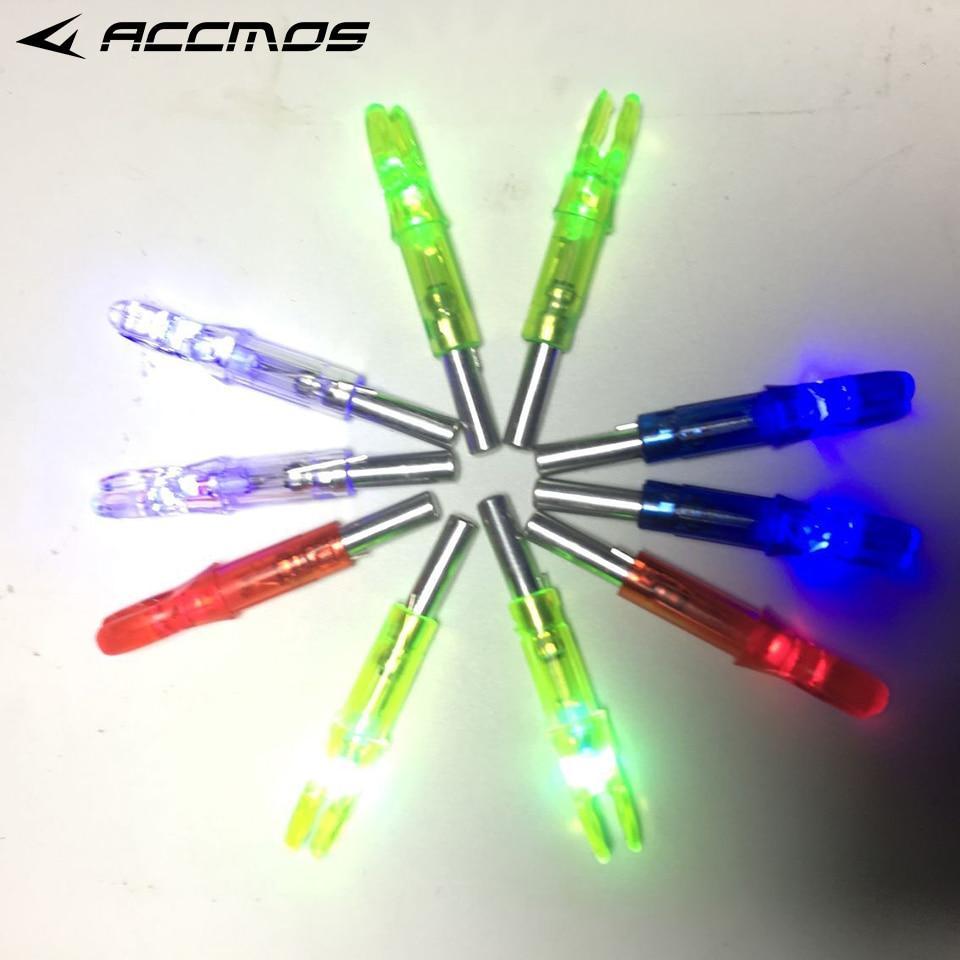 6 uds. nock iluminado Led iluminado flecha culatín para caza tiro compuesto arco accesorios de tiro con arco