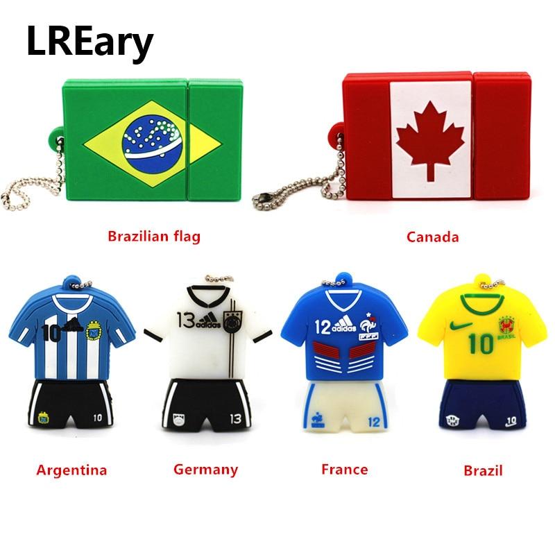 Fine jersey soccer series memory stick Football player flash drive USB 2.0 4GB 8GB 16GB 32GB 64GB U disk  flag Pendrive