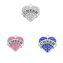Teamer 10 pcs/lot marque rose blanc bleu cristal amour coeur acclamer pendentif à breloques pour la fabrication de bijoux cadeau