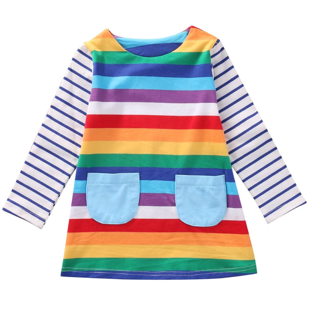 Vestido de 1 a 7 años para chico y niña, vestido Rianbow para bebé, vestido de Otoño de manga larga, Túnica para bebé, vestidos de rayas para niñas, trajes para niños
