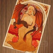 Daenerys-Targaryen gra o tron Nouveau sztuka Retro Vintage Kraft plakat na płótnie malarstwo naklejki ścienne wystrój domu prezent