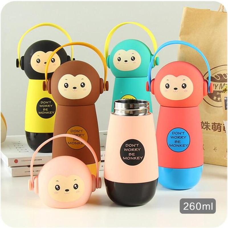 Flacon mignon chat singe sous vide   Forme de casque en acier inoxydable, tasse sous vide, bouteille de café enfant bouteille de boisson, cadeau pour enfants