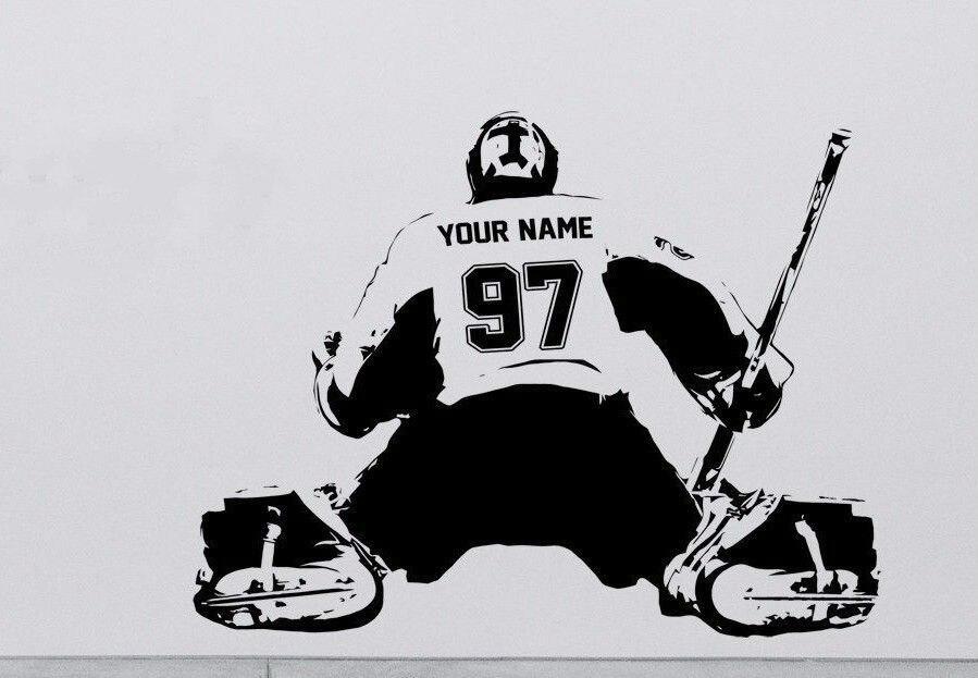 Hockey Goalie s009 Adesivo sticker art Player jersey NOME PERSONALIZZATO e NUMERI Bambini Spedizione Gratuita
