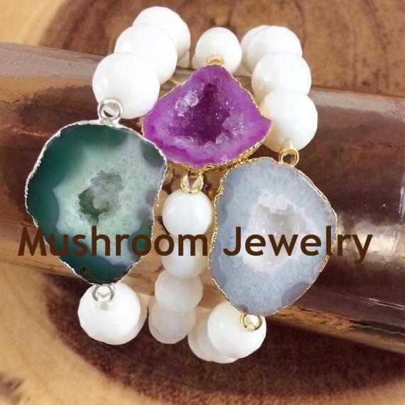 Agate Slice Connector Charm Bracelet Bohemia White Beads Bracelet Healing