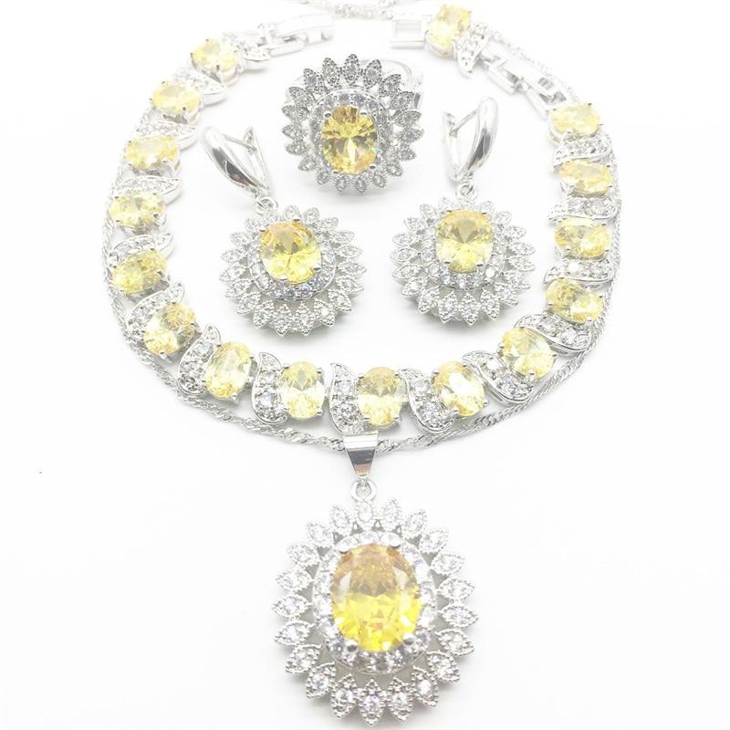 Flower White zircon yellow Crystal Jewelry Set Silver color For Women 925 Logo Bracelets/Necklace/Earrings/Ring/Pendants