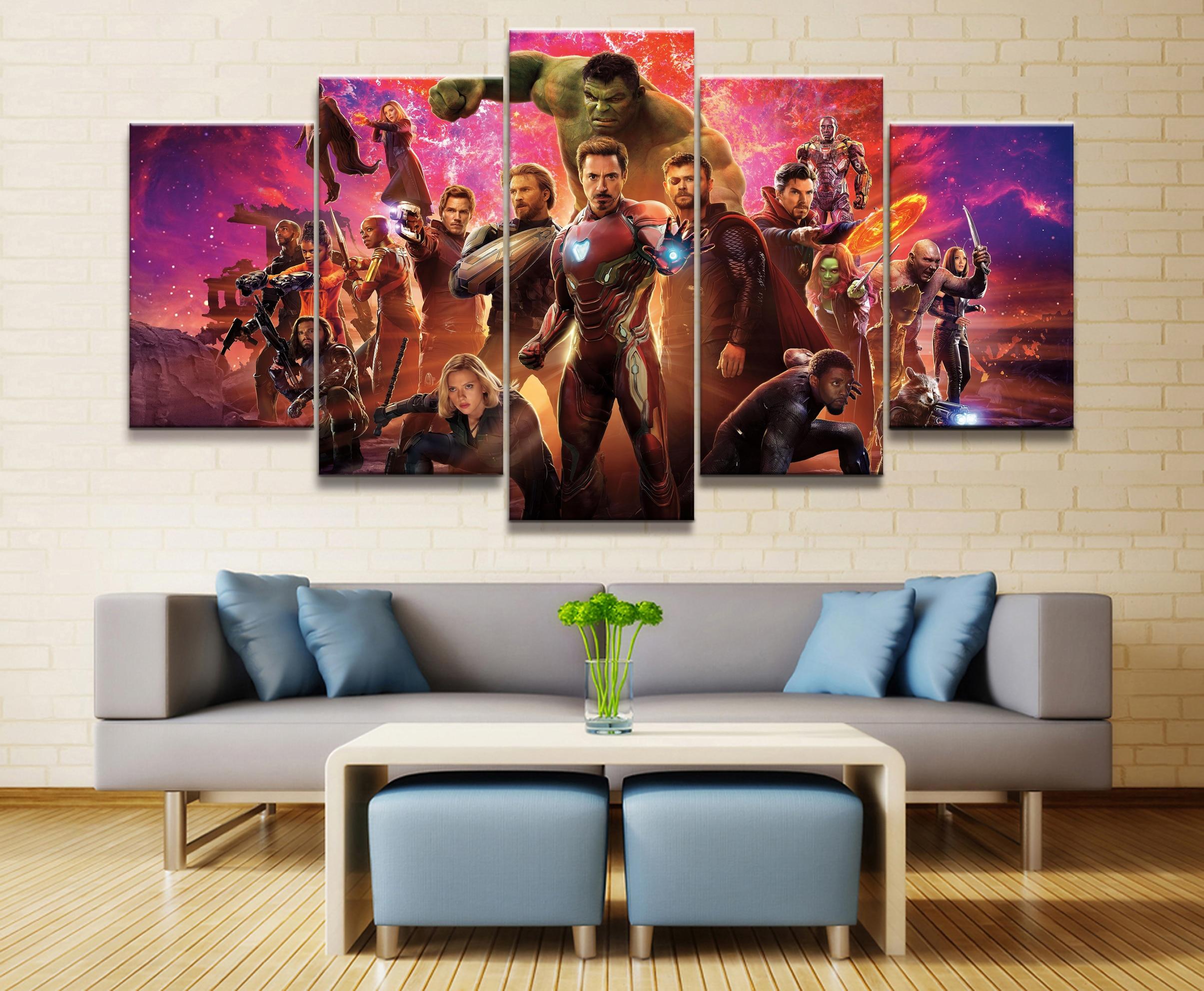 Venta caliente sin marco 5 paneles imagen Marvel Avengers película lienzo impresión pintura arte pared arte lienzo pintura al por mayor