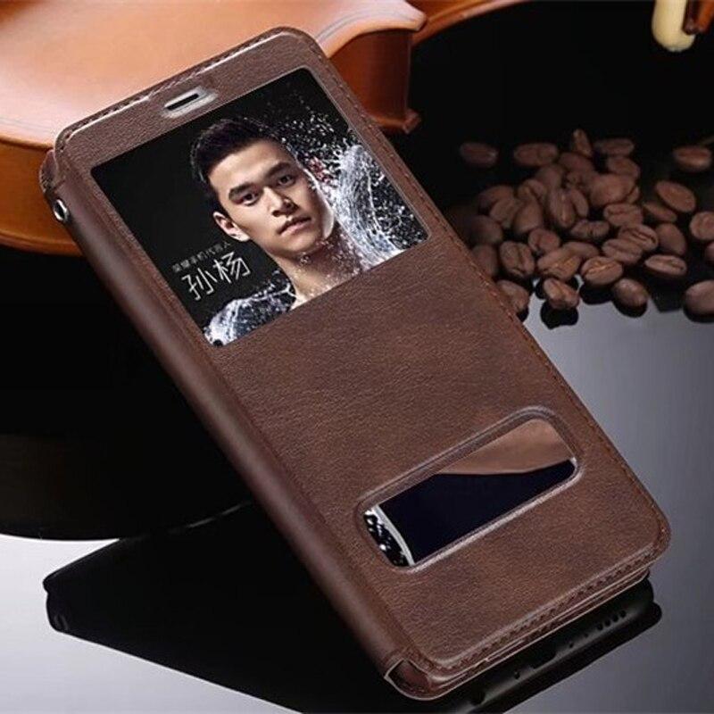 Alta calidad Hot Flip Ultra Thin vista ventana cuero casos para Huawei Honor 7X funda Teléfono de lujo cubierta