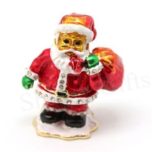 Presentes de natal Papai Noel Caixa Do Trinket Pewter Caixa de Jóia