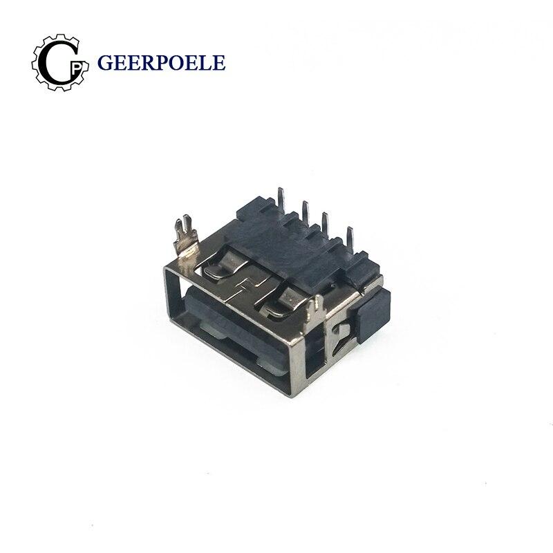 10 uds/lote hembra USB 2,0 DIP 4 Pin 2 pie tipo A 90 Insertar datos directos carga clavija para caja de enchufe conector adaptador de cable