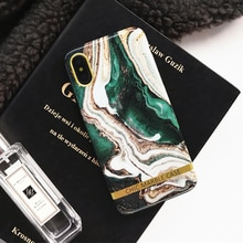 Étui pour iPhone X XR XS en marbre vert encre étui Max Texture artistique cadre en or étui en Silicone souple pour iPhone 8 7 6 6 s Plus
