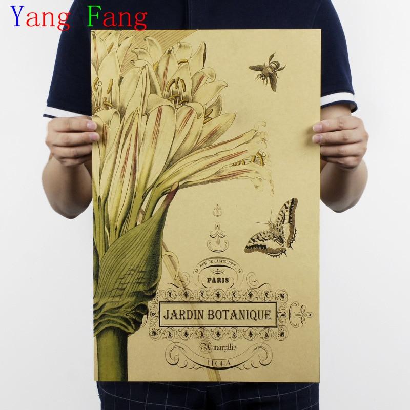 Jarrón de pintura de plantas herbáceas nostálgicas para café, papel Kraft, póster, pegatina de pared antigua, 51x35CM