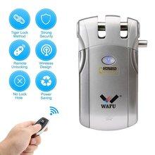 WF-019 télécommande sans fil électronique serrure intelligente sans clé serrure de porte 4 télécommandes pêne dormant avec alarme intégrée chaude