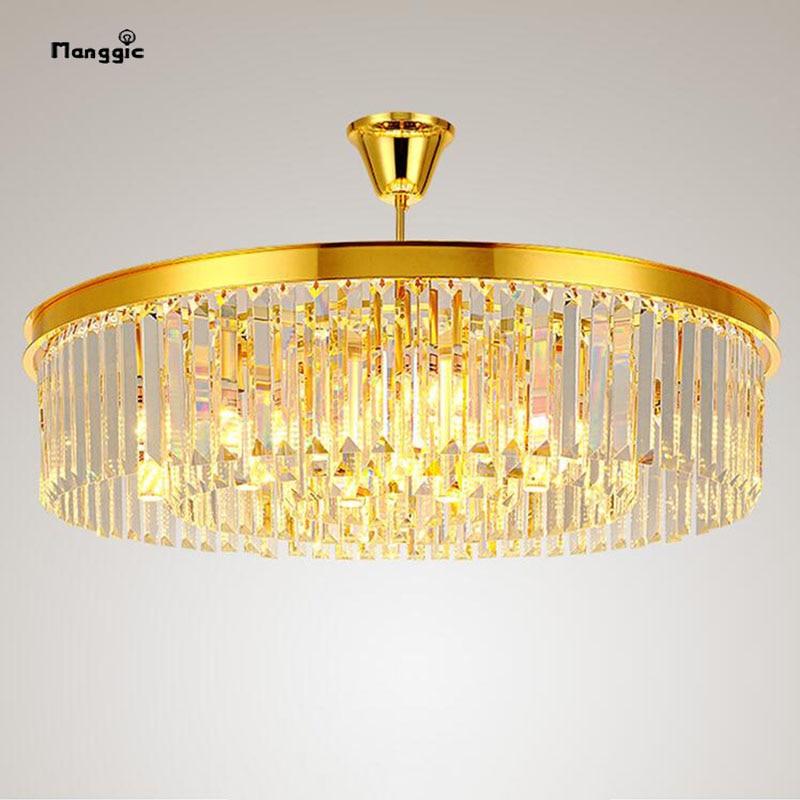 Lustre en cristal moderne salon or rond lustre personnalité créative salle hall atmosphérique restaurant lampe