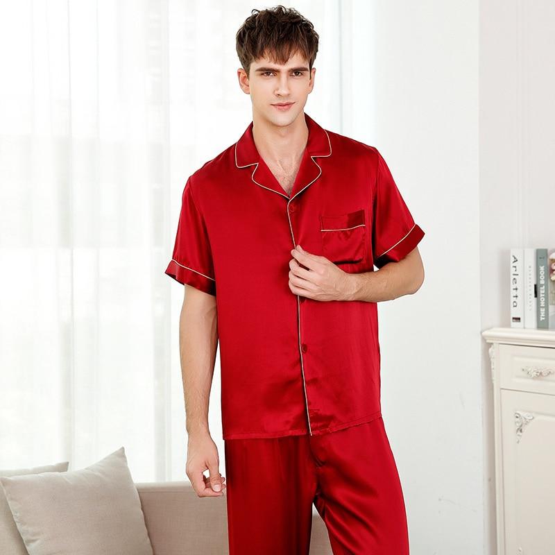 Juego de pijamas 2xl para hombre de seda 2019 para verano color sólido Azul Rojo manga corta pantalones completos pijama conjunto ropa de dormir de noche dormir y salón