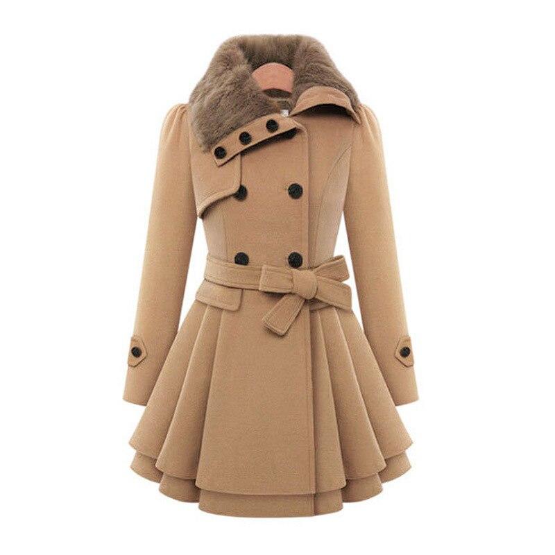 Nuevo abrigo de lana largo ajustado de mujer de Euramerica chaquetas de lana de doble botonadura gabardina Jakker Jassen Bundy Kurtki